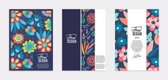 Ensemble de calibres de vecteur Fleurs abstraites tirées par la main avec différentes textures Composition florale images libres de droits