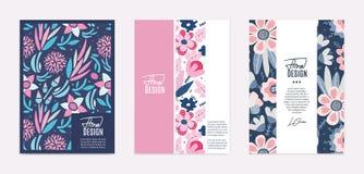 Ensemble de calibres de vecteur Fleurs abstraites tirées par la main avec différentes textures Composition florale photo stock