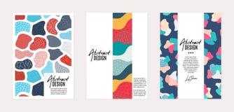 Ensemble de calibres de vecteur Formes abstraites tirées par la main avec différentes textures, taches et éléments décoratifs illustration de vecteur
