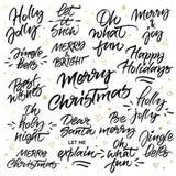 Ensemble de calligraphie de brosse de Noël Photos libres de droits