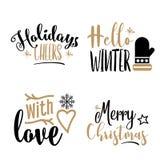 Ensemble de calligraphie de Noël d'isolement sur le fond blanc illustration de vecteur