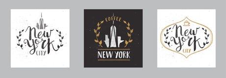 Ensemble de calligraphie tirée par la main Pen Brush Sign Vector de calibre de New York City Images stock