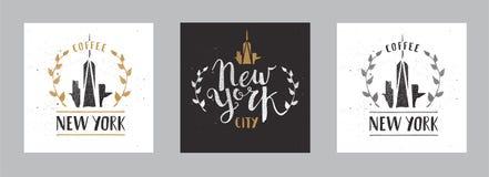 Ensemble de calligraphie tirée par la main Pen Brush Sign Vector de calibre de New York City Photo libre de droits