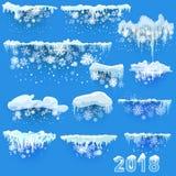 Ensemble de calottes glaciaires Congères, glaçons, décor d'hiver d'éléments Kit de décoration de nouvelle année pour le site Web  Photos stock