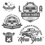 Ensemble de camion de ferme pour le logo, les emblèmes et la conception Image stock