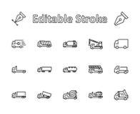 Ensemble de camion de ligne icônes de vecteur de transport Contient des icônes telles que le camion, transport, Tow Truck, grues, illustration libre de droits