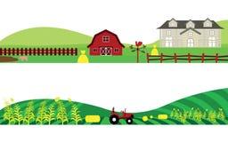 Ensemble de campagne de ferme et de paysage d'agriculture illustration libre de droits