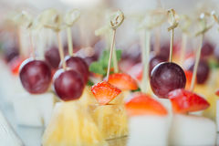 Ensemble de canapes délicieux avec la fraise, l'ananas, le melon et le raisin Photos libres de droits