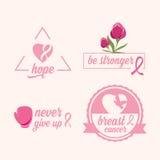 Ensemble de cancer du sein d'autocollants Ruban rose, conception d'icône Image libre de droits