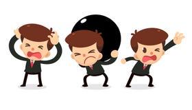 Ensemble de caractère d'homme d'affaires dans les actions Obtenez l'aide Photo stock