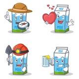 Ensemble de caractère de boîte à lait avec du jus de mineur de coeur d'explorateur illustration de vecteur