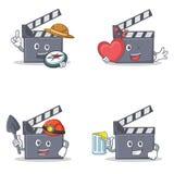 Ensemble de caractère de clapet de film avec du jus de mineur de coeur d'explorateur illustration stock