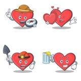 Ensemble de caractère de coeur avec du jus d'amour de mineur d'explorateur illustration de vecteur