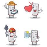 Ensemble de caractère de flashdisk avec du jus de winer de coeur d'explorateur illustration de vecteur