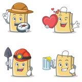 Ensemble de caractère de sac avec du jus de mineur de coeur d'explorateur illustration stock