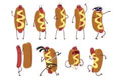 Ensemble de caractère drôle de hot-dog de bande dessinée dans l'action Concept d'aliments de préparation rapide Illustration plat illustration libre de droits