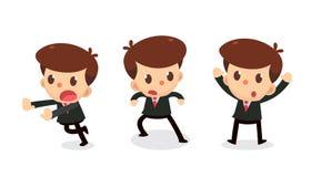 Ensemble de caractère minuscule d'homme d'affaires dans les actions reddition Images stock