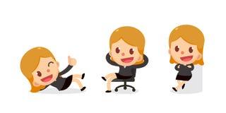 Ensemble de caractère minuscule de femme d'affaires dans les actions Photographie stock libre de droits