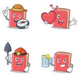 Ensemble de caractère rouge de livre avec du jus de mineur de coeur d'explorateur illustration de vecteur