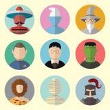 Ensemble de caractères d'icônes de cercle des contes de fées et des mythologies Ensemble - 08 Images libres de droits