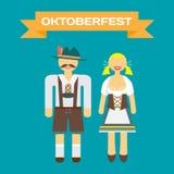 Ensemble de caractères dans un style plat Oktoberfest Image stock