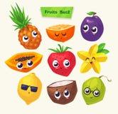 Ensemble de caractères de fruit Bandes dessinées mignonnes de vecteur Images libres de droits
