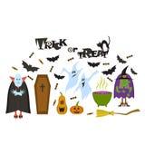 Ensemble de caractères de Halloween Drapeau de Veille de la toussaint illustration libre de droits