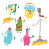 Ensemble de caractères de nettoyage de maison drôle, détergents, seau, balai, éponge Images libres de droits