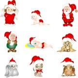 Ensemble de caractères de Noël Photographie stock libre de droits