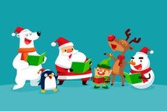 Ensemble de caractères de Noël chantant des chants de Noël illustration de vecteur