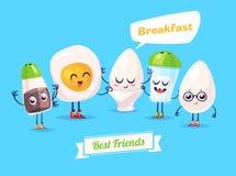 Ensemble de caractères de petit déjeuner Bandes dessinées mignonnes de vecteur Photo stock