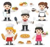 Ensemble de caractères des chefs avec des nourritures et des desserts illustration de vecteur