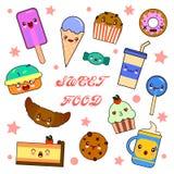 Ensemble de caractères drôles de dessert - beignet, croissant, petit gâteau, gâteau, macaron, illustration de vecteur de style de Images stock
