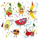 Ensemble de caractères drôles de fruit ayant la partie illustration stock