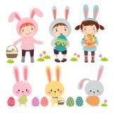 Ensemble de caractères et d'icônes sur le thème de Pâques illustration libre de droits