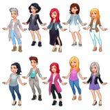 Ensemble de caractères femelles de mode de bande dessinée Photographie stock libre de droits