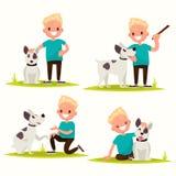 Ensemble de caractères Garçon avec son chien aimé Illustration de vecteur illustration libre de droits