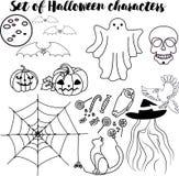 Ensemble de caractères de Halloween illustration libre de droits