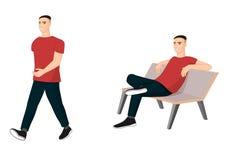 Ensemble de caractères masculins dans des vêtements sport Illustration Stock
