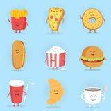 Ensemble de caractères mignons d'aliments de préparation rapide de bande dessinée Illustration de Vecteur