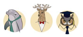 Ensemble de caractères stylisés Dauphin, cerf commun, hibou illustration stock