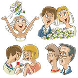 Ensemble de caractères sur le thème de mariage Photographie stock libre de droits