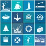 Ensemble de cargaison et de Marine Icons Illustration Stock