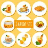 Ensemble de carotte, huit icônes des plats et boissons Photographie stock libre de droits