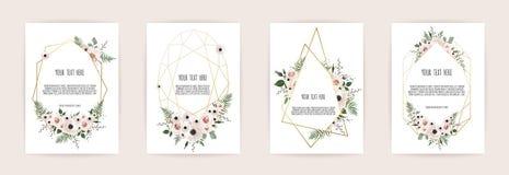 Ensemble de carte avec la rose de fleur, les feuilles et le cadre géométrique Concept d'ornement de mariage L'affiche florale, in illustration libre de droits