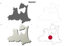 Ensemble de carte d'ensemble de blanc d'Aomori illustration stock