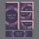Ensemble de carte d'invitations de mariage avec le lis Image stock