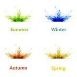 Ensemble de carte de saison de quatre couleurs Photo libre de droits