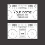 Ensemble de carte de visite professionnelle de visite double face pour le DJ illustration stock