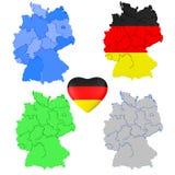 Ensemble de carte et de coeur de l'Allemagne 3D d'isolement sur un fond blanc Image libre de droits
